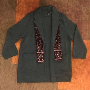 J.Crew OpenFront Sweater Blazer Gray Wool XL